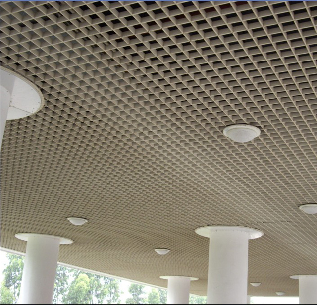 100*100 Fashionable 3D Decorative Aluminum Grid Ceiling